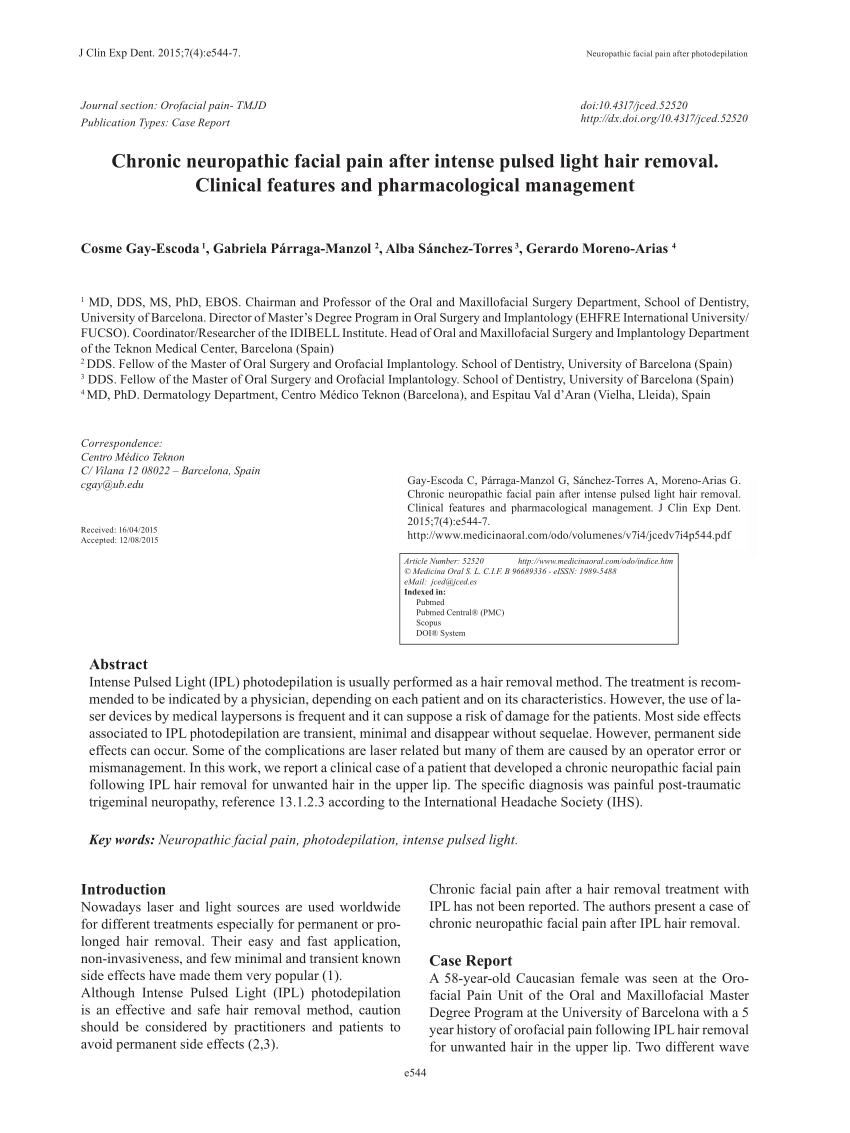 (PDF) Dolor facial neurop�tico cr�nico despu�s de un cabello de luz intensa pulsada ...