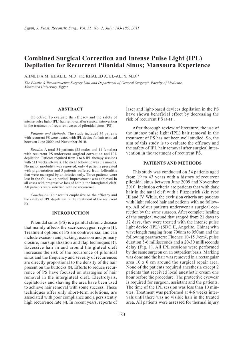 Depilaci�n (IPL) para el seno pilonidal recurrente