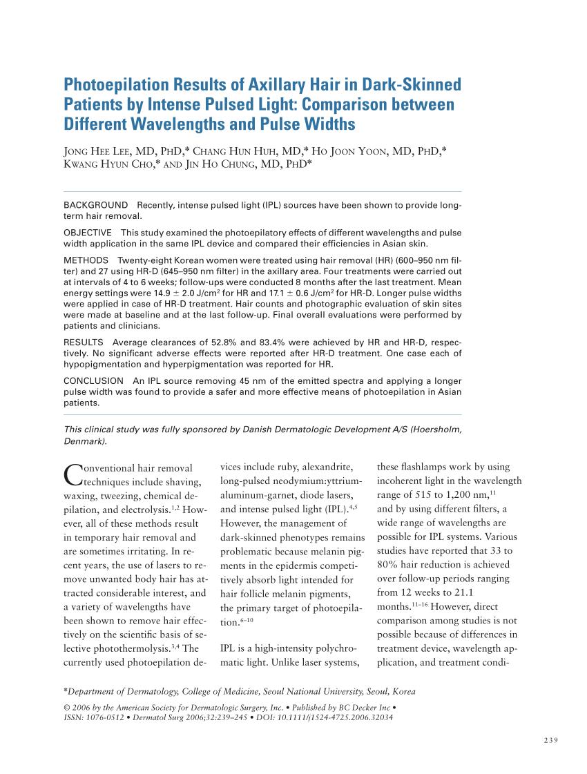 (PDF) Resultados de la fotodepilaci�n del vello axilar en pacientes de piel oscura ...