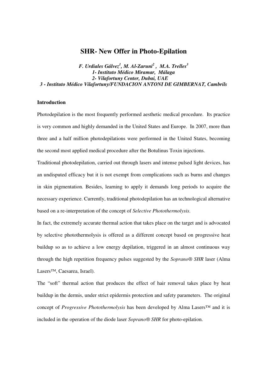 SHR-Nueva oferta en foto-depilaci�n (descarga PDF disponible)