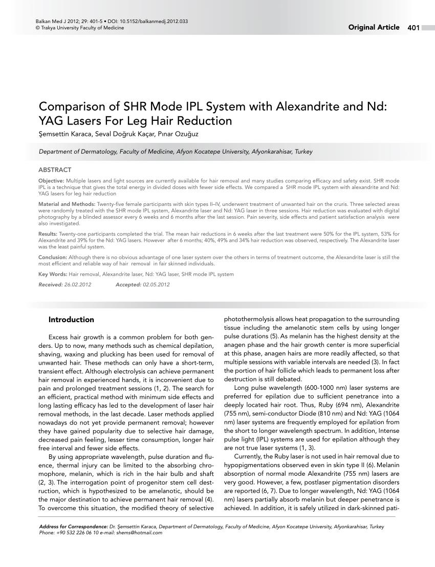 Comparaci�n del sistema IPL en modo SHR con alejandrita y nd: YAG ...