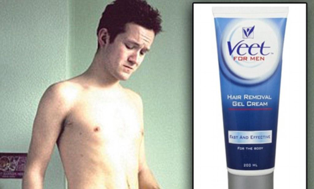Los hombres pagan el precio por no leer las instrucciones de la crema depilatoria como ...