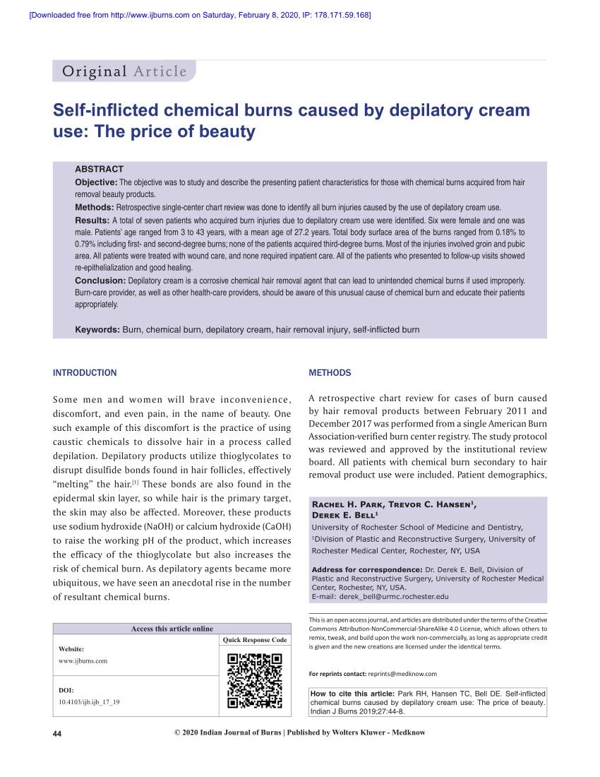 (PDF) Quemaduras qu�micas autoinfligidas causadas por el uso de cremas depilatorias ...